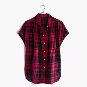 Madewell Navy Red Bushwick Plaid Central Shirt M